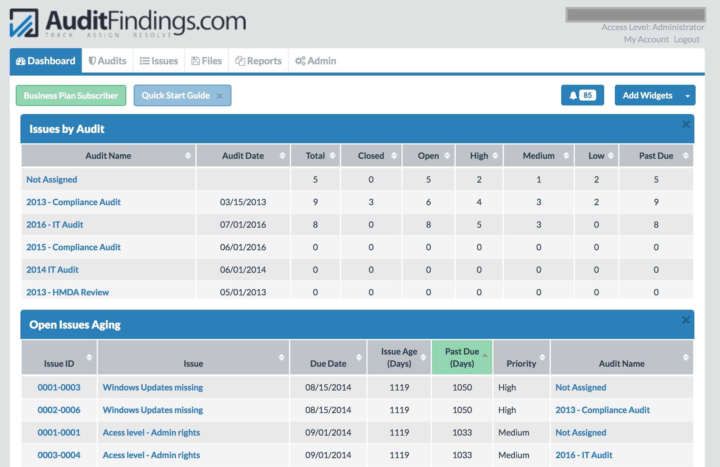 Audit Issue Tracking Dashboard in AuditFindings