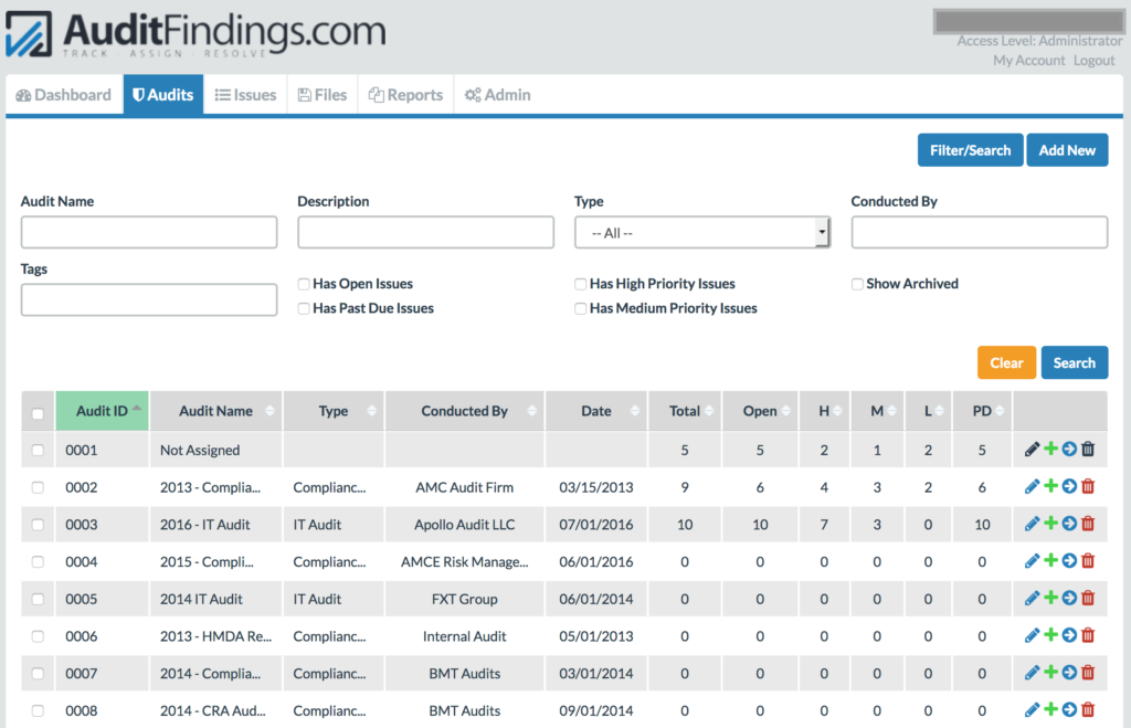 Audit Issue Tracking System Summary Tab in AuditFindings