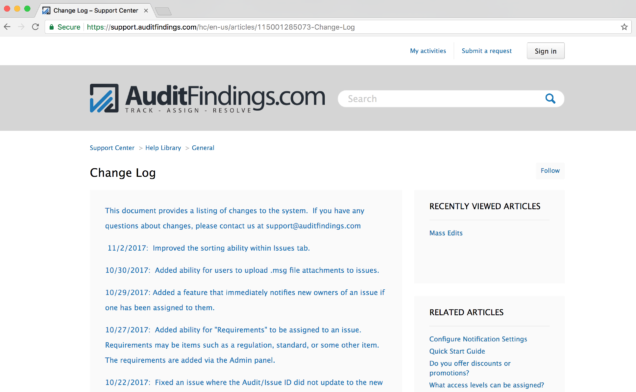 AuditFindings.com Change Log