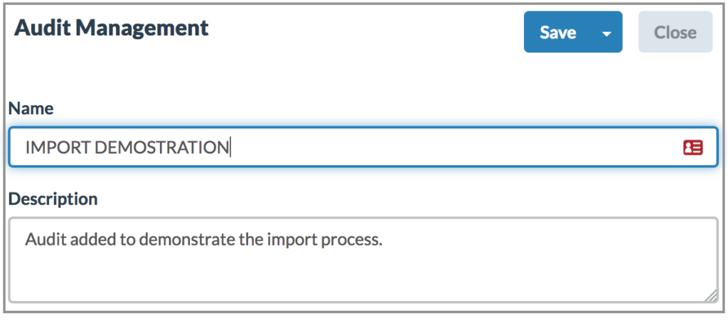 Import - Add Audit Modal