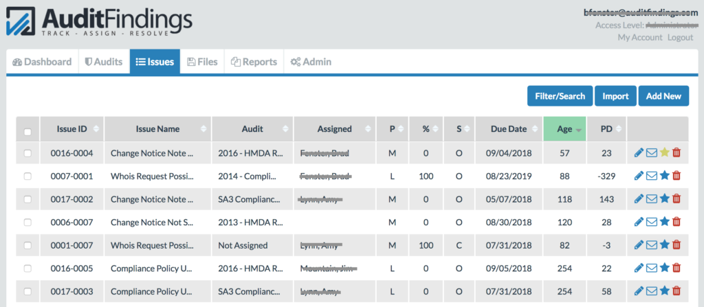Audit findings audit issue tracking issue listing page